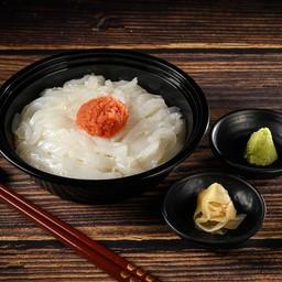 ข้าวหน้าปลาหมึกและเมนไทโกะ