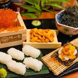 UNI+IKURA SUSHI TEMAKISET (sashimi uni(50g)+sashimi ikura(100g)+sushiset)
