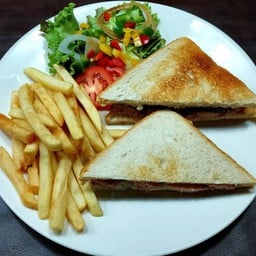 Sausage Sandwich Served with Salad & French Fries
