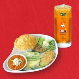 ข้าวผัดน้ำพริกไข่ปู+น้ำมะตูม
