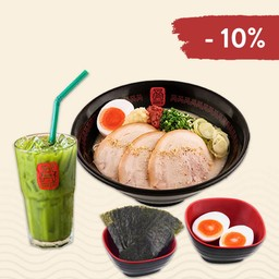 ลด 10%! เมื่อสั่ง Set เดี่ยว B : ราเมง + ไข่ต้ม + สาหร่าย + ชาเขียว