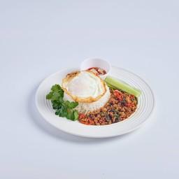 ข้าวกระเพราะ Khao Patkaprao moo,Chicken,Talay
