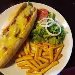Philly Cheese Steak Baguette Served with Salad & French Fries
