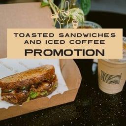 [PROMOTION] New! Toast Sandwich Beef Hamburg, Bacon Cheese w Iced Coffee