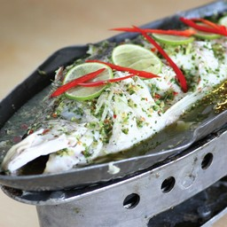 ปลากระพงนึ่งมะนาว