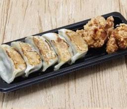 เกี้ยวซ่า 5 ชิ้น + ไก่ทอดคาราอาเกะ 2 ชิ้น