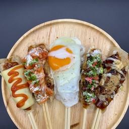 Okonomiyaki chopstick roll set (Original,Negi,Egg,Kimuchi,Cheese)