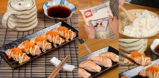 """วิธีทำ """"ซูชิแซลมอนพ่นไฟ"""" เมนูอาหารญี่ปุ่นสุดล้ำ ทำเองได้ที่บ้านคุณ!"""