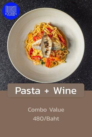 โปรโมชั่น Pasta + Wine ลด 100 บาท เมื่อสั่งเมนู  จำนวน 2 ที่