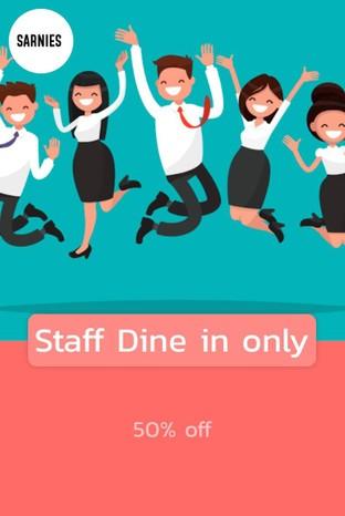 โปรโมชั่น Staff Dine in only ลด 50 % เมื่อสั่งเมนูในหมวด Salads, Non-Alcoholic, Loaded Toast Delivery, Loaded Toast, Sweets, Larger, Eggy Goodness, Alcohol, Dinner Dishes Delivery, Hot tea, Pasta Delivery, Salads Delivery, Smaller, Sandwiches, Bundle Deals Delivery, Not coffee, Dessert, Pimp My BF, Sweets Delivery, Pasta, Healthy Bowls, Coffee, Milkshakes Delivery, Eggy Goodness Delivery, Pimp My Breakfast Delivery, Get fresh, Sarnies At Home, Wine, Coffee Delivery, Sandwiches Delivery, Beer, Cocktails, Water, Fresh Juices & Tea Delivery, Not Coffee Delivery