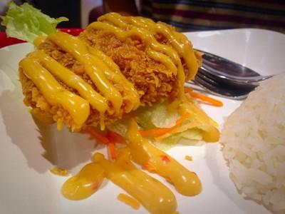 ข้าวไก่ทอดซอสมะนาว##1
