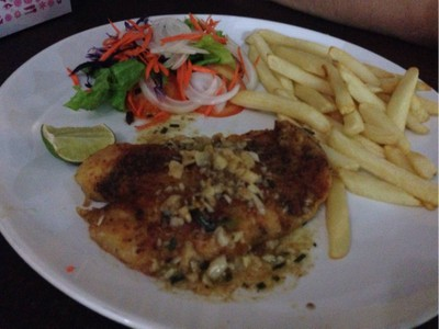Dory fish steak with garlic sauce