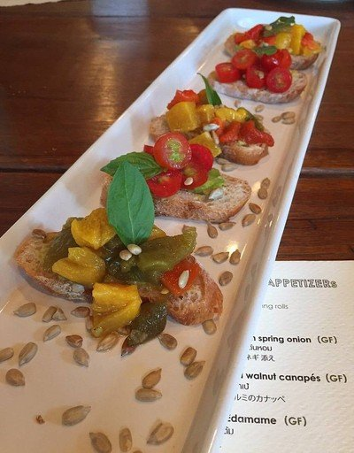 Avocado Bruschetta with assorted toppings