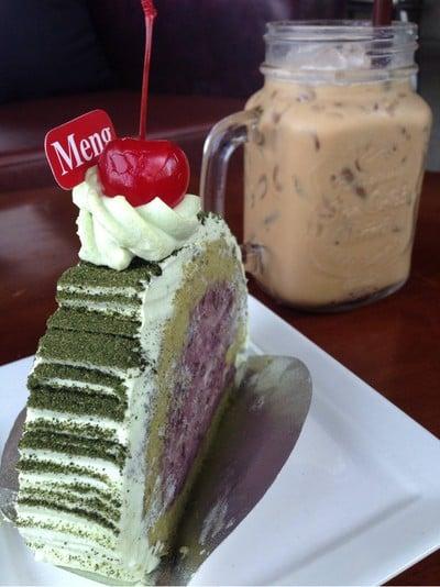 โรลชาเขียวถั่วแดง + Iced espresso