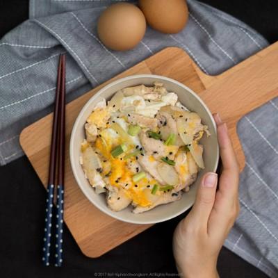 Oyakodon ข้าวหน้าไก่ใส่ไข่สไตล์ญี่ปุ่น
