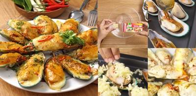 """วิธีทำ """"หอยแมลงภู่อบชีสซอสต้มยำ"""" เมนูกินเล่นง่าย ๆ หอยใหญ่ ๆ ชีสยืด ๆ"""