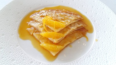 Crêpes Suzette Flambéed at Your Table, Vanilla Ice Cream