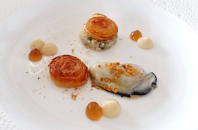 Luke Warm Oyster from Normandie, Celeriac and Honey