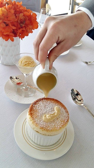 Grand Marnier Soufflé, Vanilla Ice Cream
