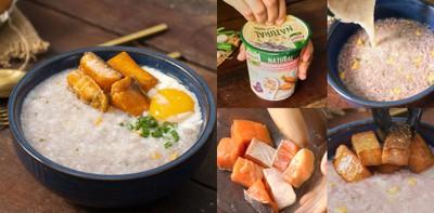 """วิธีทำ """"โจ๊กแซลมอนย่างไข่ออนเซ็น"""" เมนูอาหารเช้าทำง่าย ได้สุขภาพ"""