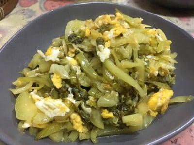 ผักกาดดองผัดไข่