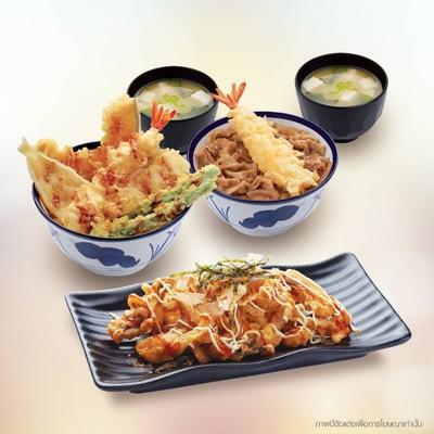 ซื้อเทนด้ง + ข้าวหน้ากุ้งเทมปุระและหมูผัดซอสสไตล์ญี่ปุ่น + ปลาหมึกทอดราดซอสโอโคโนมิยากิ+ ซุปมิโซะ 2 ถ้วย ราคา 359 บาท จากราคาปกติ 437 บาท