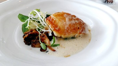 Snow Fish Mushroom Ragout, Baby Spinach, Noilly Prat Veloute