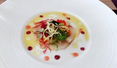 Kagoshima Young Yellowtail Carpaccio, Salmon Roe, Pink Grapefruit, Lemon, Oba Leaf Gelee, Yuzu Citrus