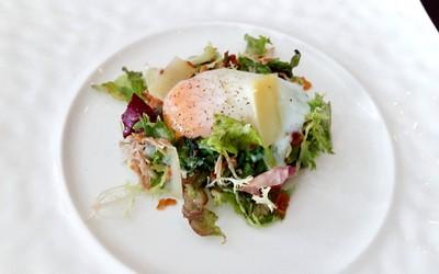 LA VIE Salad, Warm Confit Duck Leg, Frisee, 64 - Degree Egg, Lardons