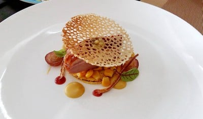 Smoked Duck Breast, Piemond Polenta, Corn Kernel Coulis, Grape Compote in Red Wine