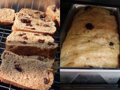 ขนมปังโฮลวีทแครนเบอรี่ลูกเกด