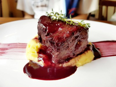 Australian Black Angus Tenderloin With Red Wine Sauce at The Yard Restaurant