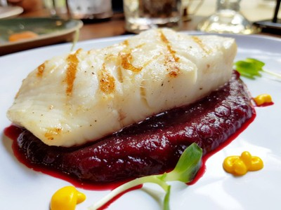 Cod Fillet With Beetroot Sauce at The Yard Restaurant