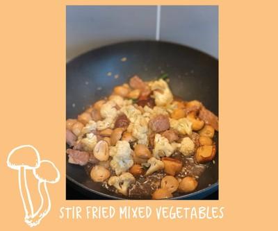 ผัดดอกกะหล่ำใส่หมู (Stir Fried Mixed Vegetables)