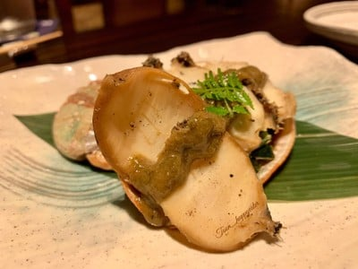 Steamed abalone with Kimo miso