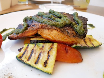 Grilled Norwegian Salmon With Pesto Roasted Vegetables