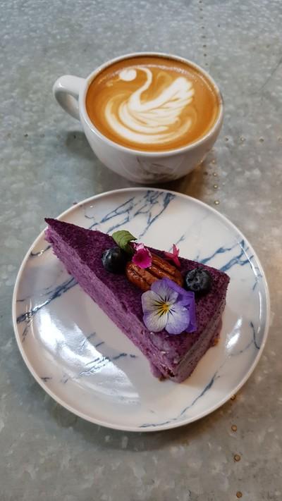 Flat White & Purple Sweet Potato Cake