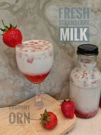 วิธีทำ นมสตรอว์เบอร์รี่ [Fresh Strawberry Milk]
