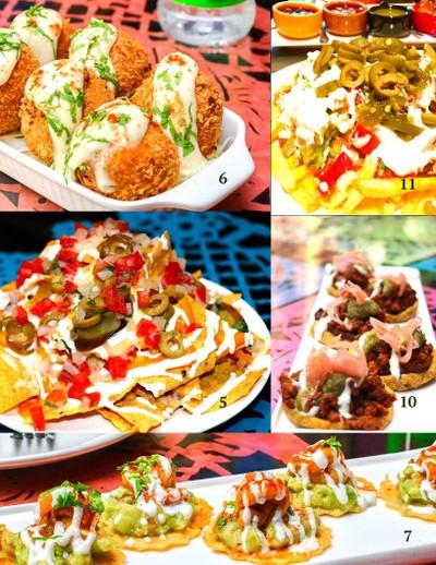 croquetas, tijuana fries, nacho mini, chorizo sopes, mini prawn tostadas