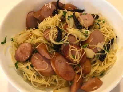 Angel Hair with dried chilies, garlic, and sausage