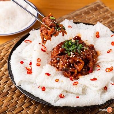 วิธีทำ บั๋นหอยหมูผัดซอสโคชูจัง