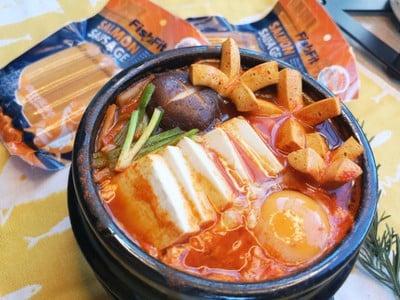 ซุปกิมจิไส้กรอกเเซลม่อน