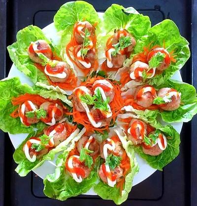 มีทบอลห่อผัก meatball baby romaine lettuce wraps