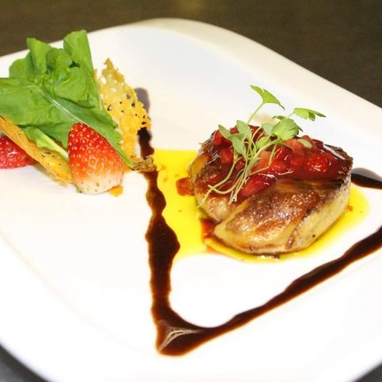 Pan-Seared Foie Gras with Fresh Strawberry and Strawberry Sauce
