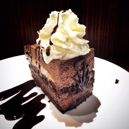 Chocolate Mousse Caramel Spelt Cake.