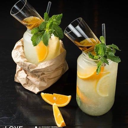 Citrus Mojito ( Ketel One, lime wedge, orange wedge, lemon wedge, mint spring, t