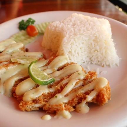 ข้าวไก่ทอดซอสครีมมะนาว (65 บาท)