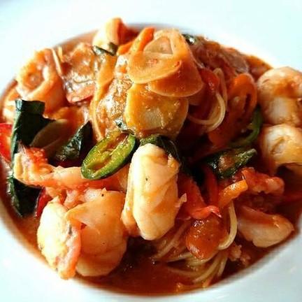 Capellini, prawn and basil sauce