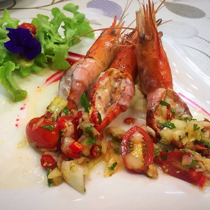 River Prawn Steak with Salsa and Salad