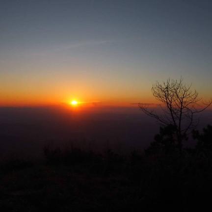 พระอาทิตย์ตกบนยอดดอยภูลังกา